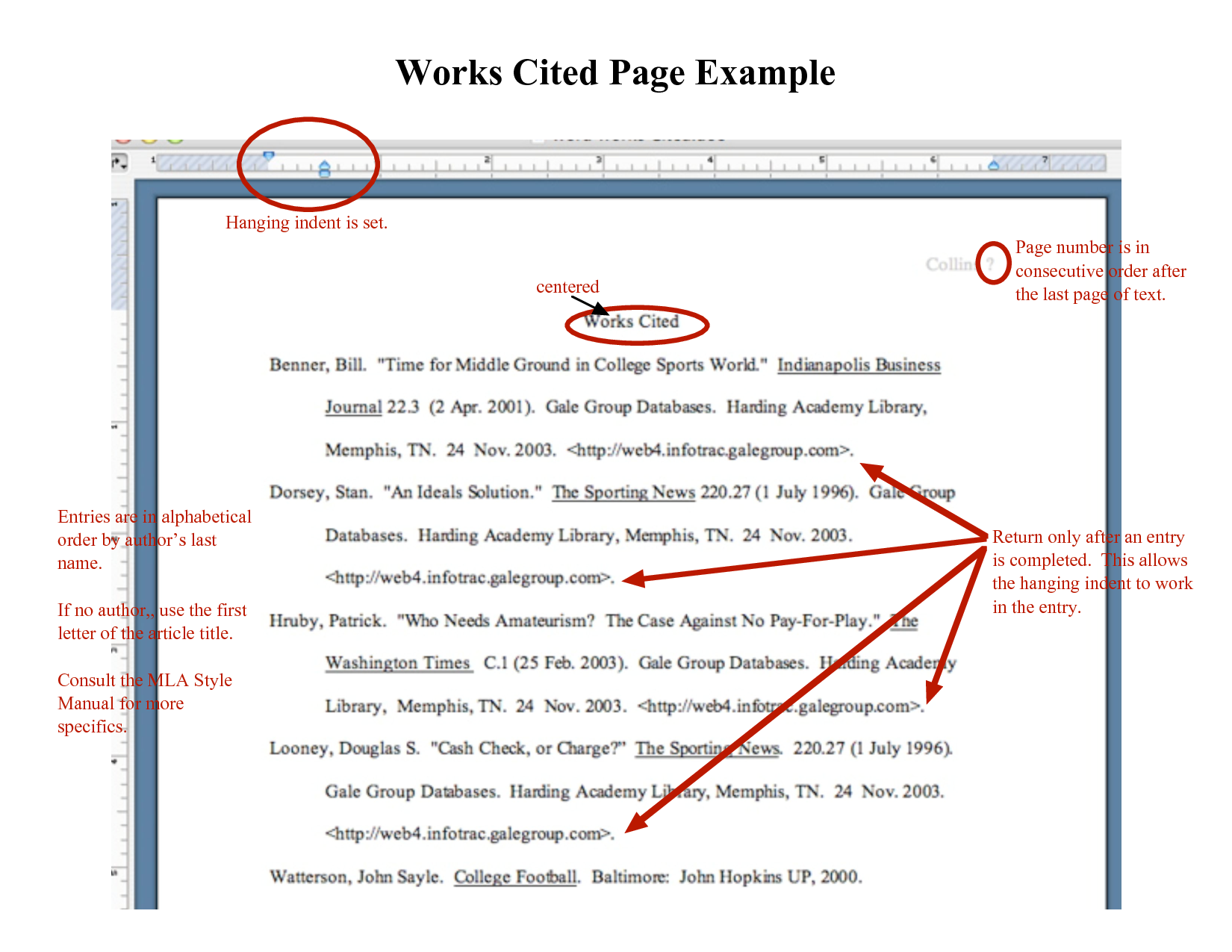 work cited pages for websites